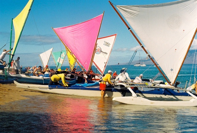 Hawaiiain  Outrigger Sailing Canoe Race from Kaanapali Beach, Maui to Molokai photo: Gloria Reed