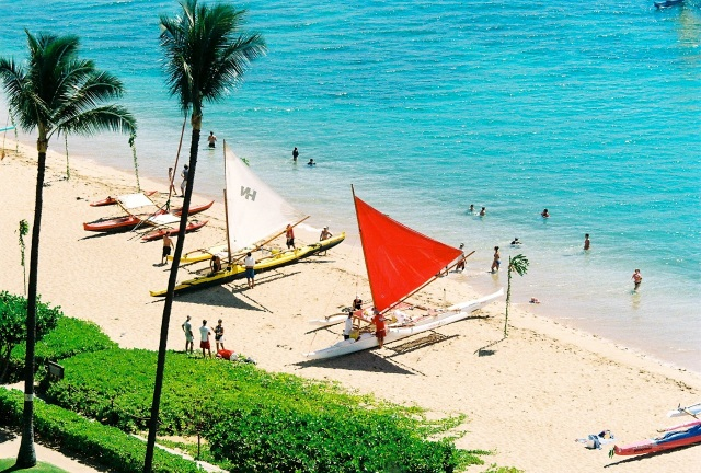 Hawaiian Outrigger Sailing Canoes at Kaanapali Beach Photo: Gloria Reed
