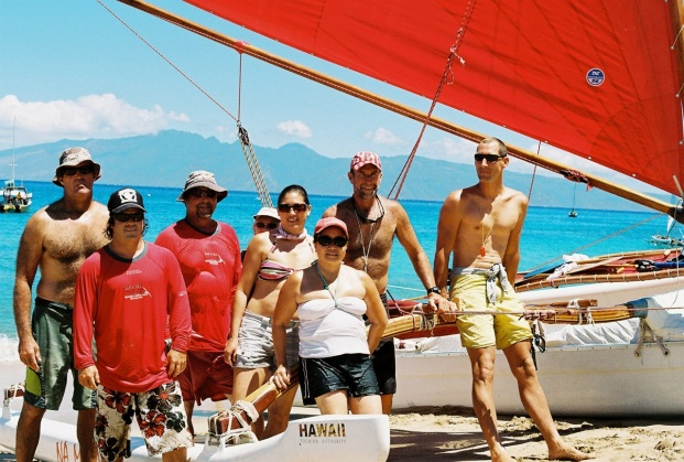 Sailing crew with Maui Visitors who just enjoyed a sailing canoe ride