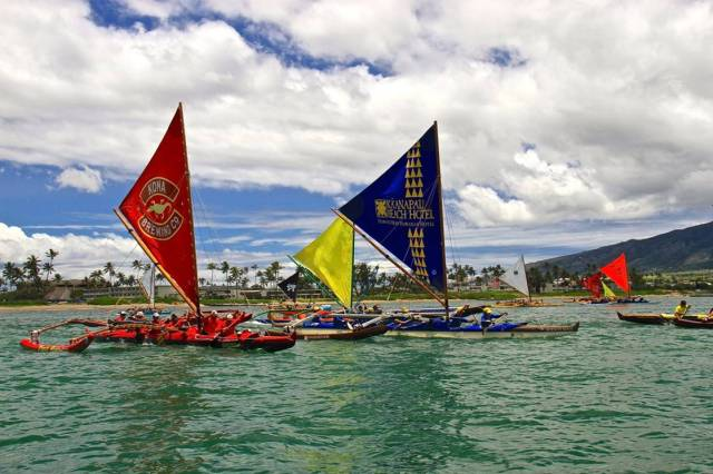 Paddling out of Kahului Harbor